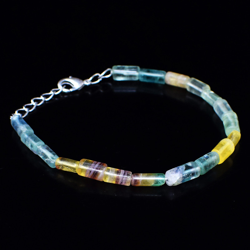 Multicolor Fluorite Beads 8 Inches Long Bracelet