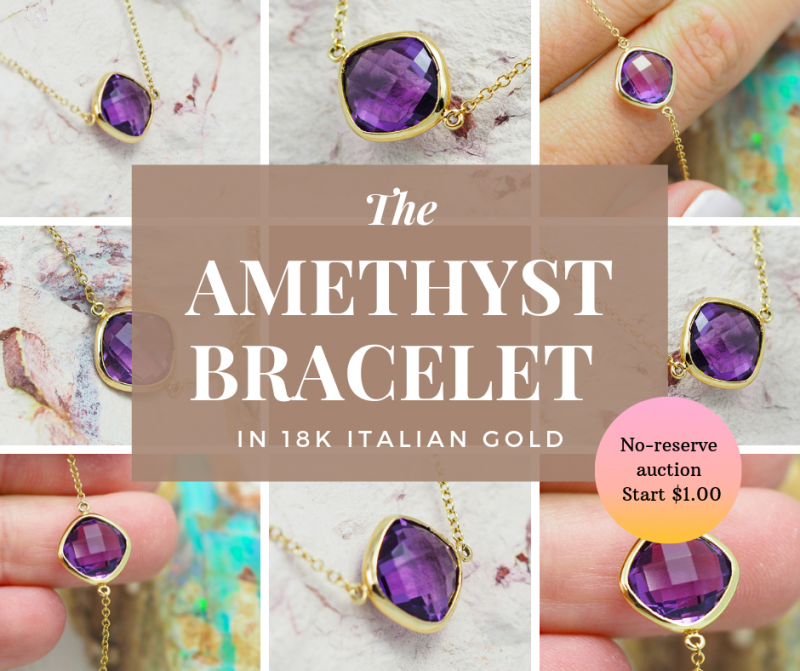 Stylish Amethyst Bracelet in 18K Italian  Gold - 80 B 11514C 1500