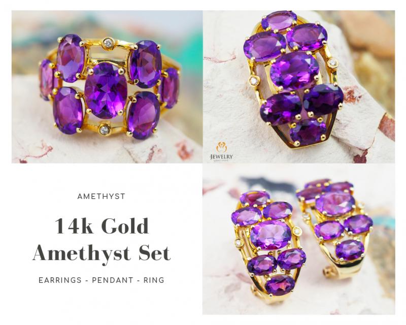 14K Yellow Gold Amethyst & Diamond Jewelry Set