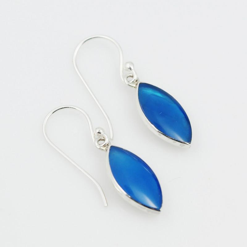 Blue Agate  silver Earrings,Sheppard Hooks AM 740