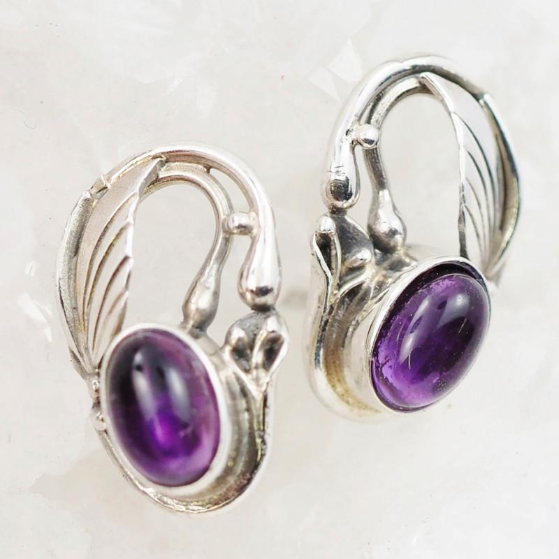 cute Amethyst  silver Earrings, AM 743