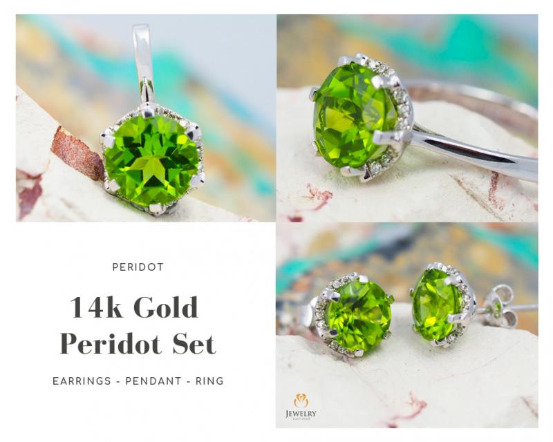 14K White Gold Peridot & Diamond Jewelry Set