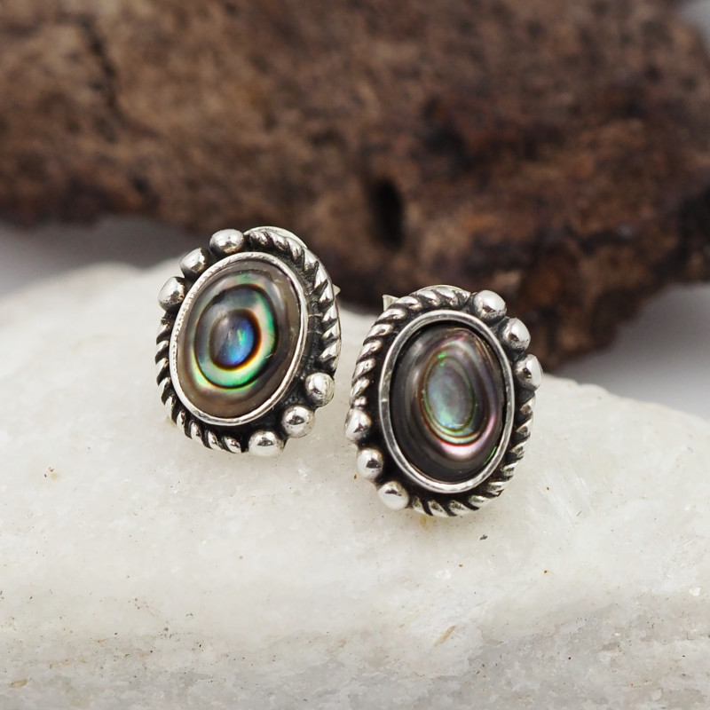 natural paua shell silver Earrings, ,AM 777