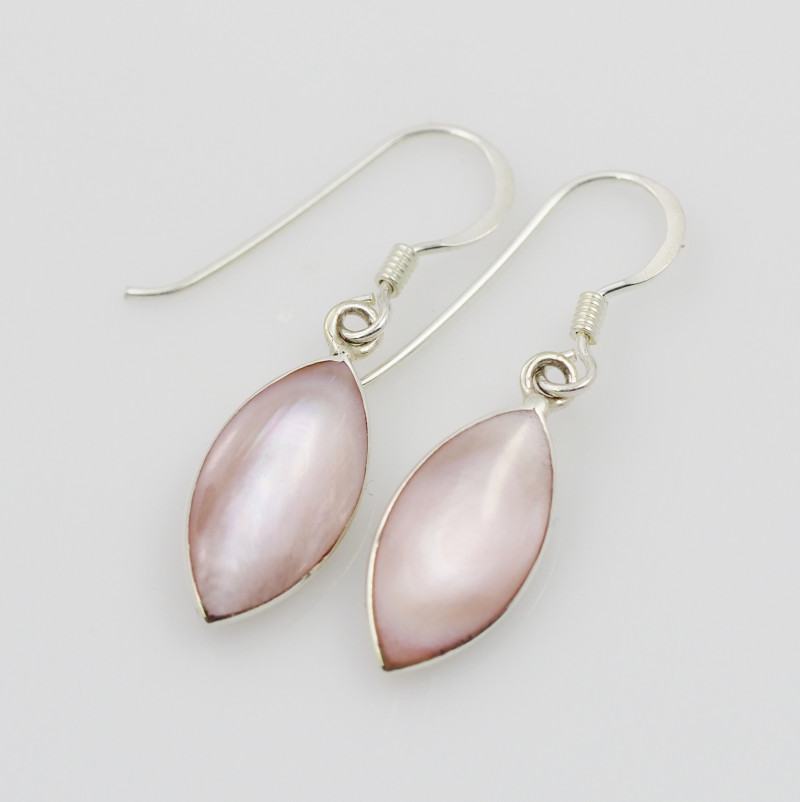 pastel pink natural shell silver Earrings, ,AM 778