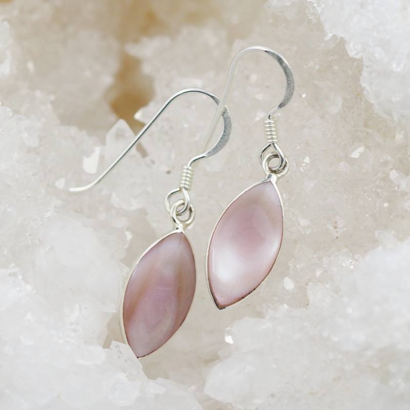 pastel pink natural shell silver Earrings, ,AM 779