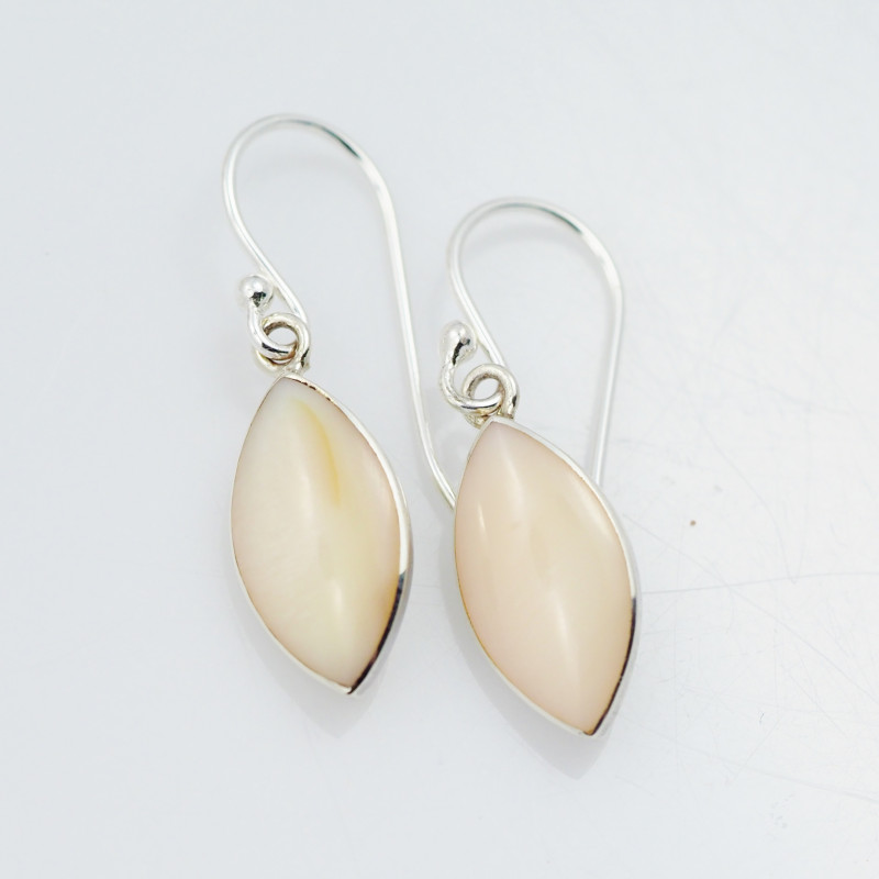 pastel Apricot  natural shell silver Earrings, ,AM 782