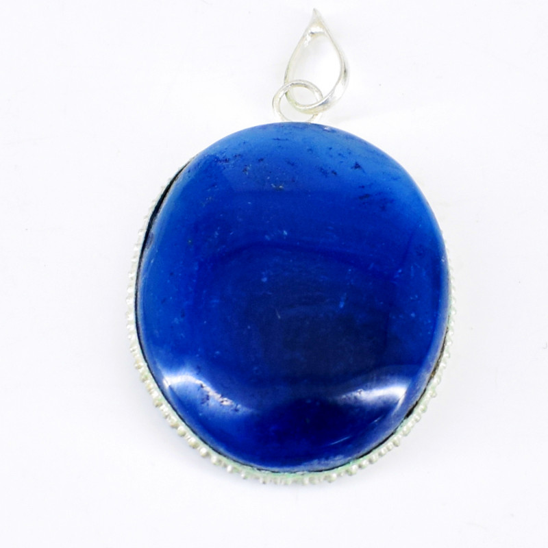 Blue Onyx Oval Shape Pendant