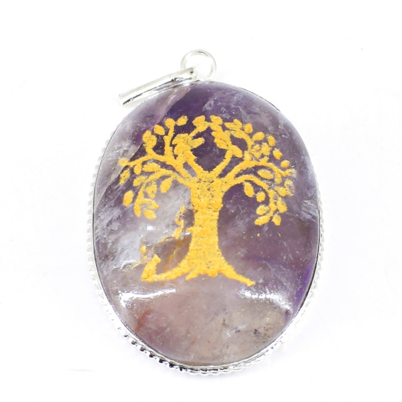 Bi-Color Amethyst Tree Pendant