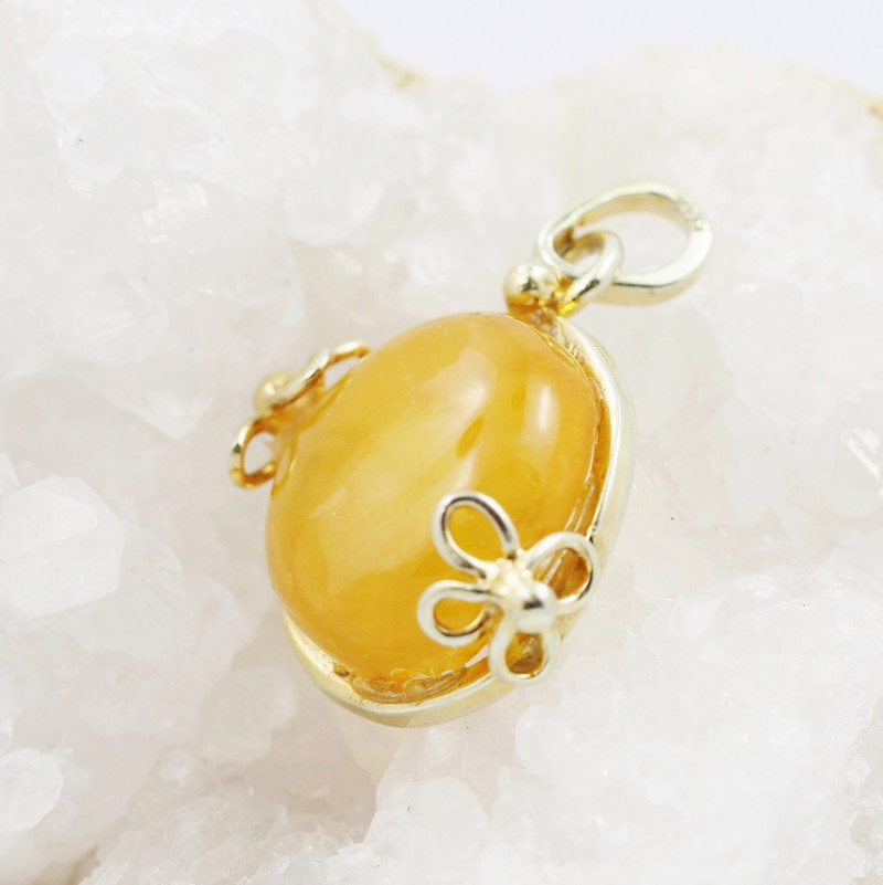 Baltic Honey Amber Sale, Gold plated  silver Pendant , AM784