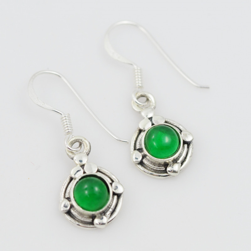 Green Agate  silver Earrings, Sheppard hooks ,AM 791