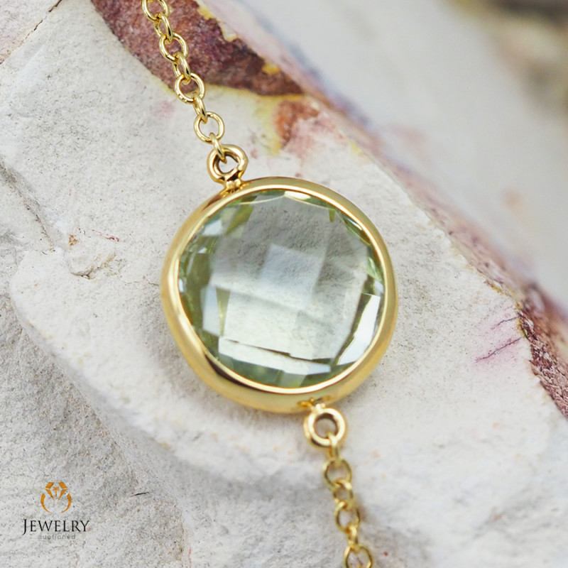 Stylish Green Amethyst Bracelet in 18K Gold - 57 - B 9933C 1400