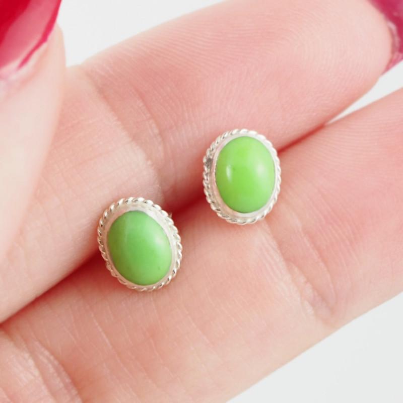 Oval cute Green Agate  silver Earrings,  ,AM 798
