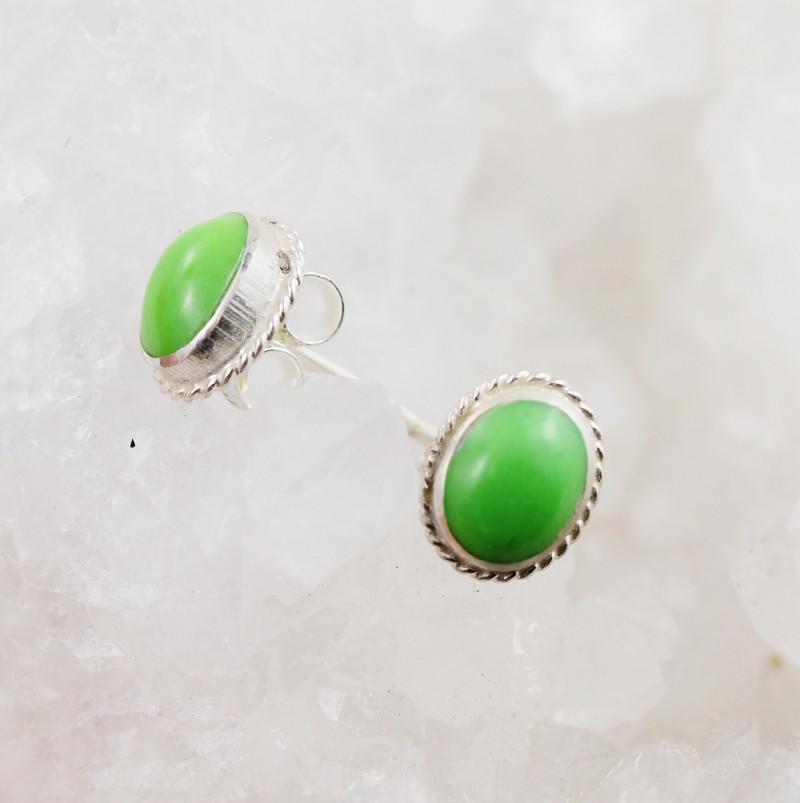 Oval cute Green Agate  silver Earrings,  ,AM 799