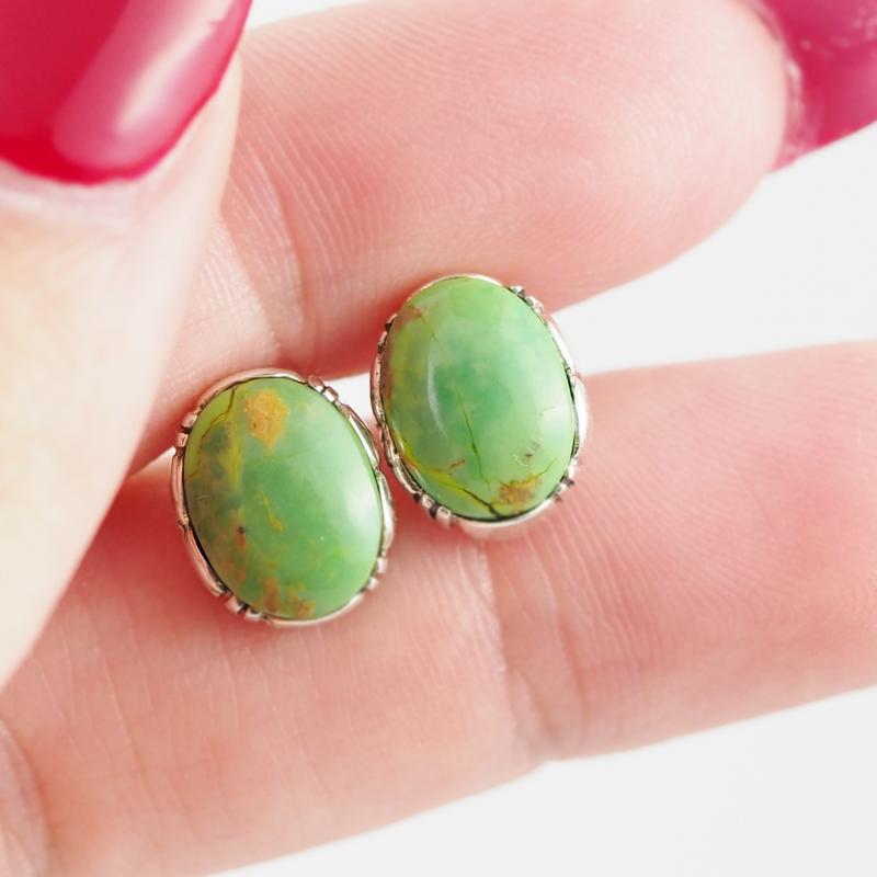 Oval large Green Agate  silver Earrings,  ,AM 802