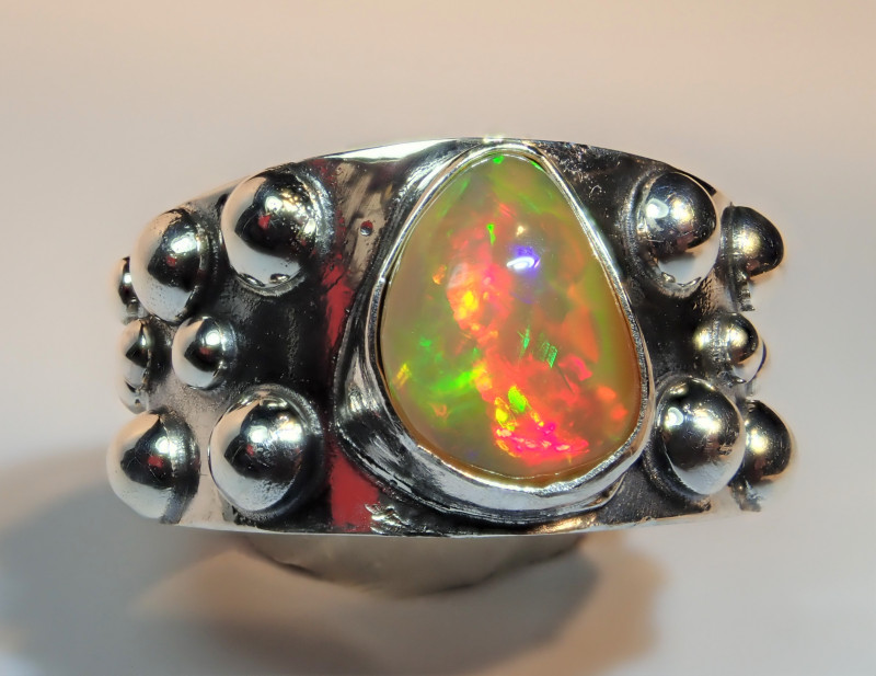 6.5SZ BRILLIANT WELO OPAL STERLING RING
