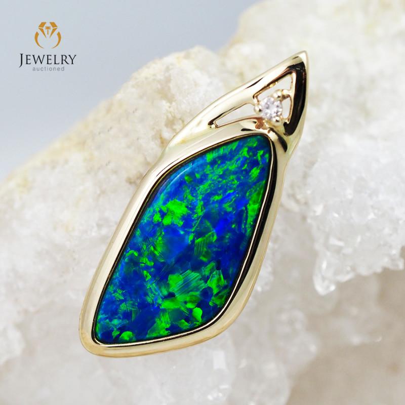 Handmade Designer Doublet Opal 14k Yellow Gold Pendant with Diamond OPJ105