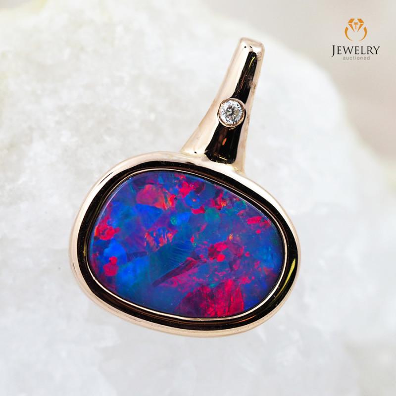 Handmade Designer Doublet Opal 14k Rose Gold Pendant with Diamond OPJ107