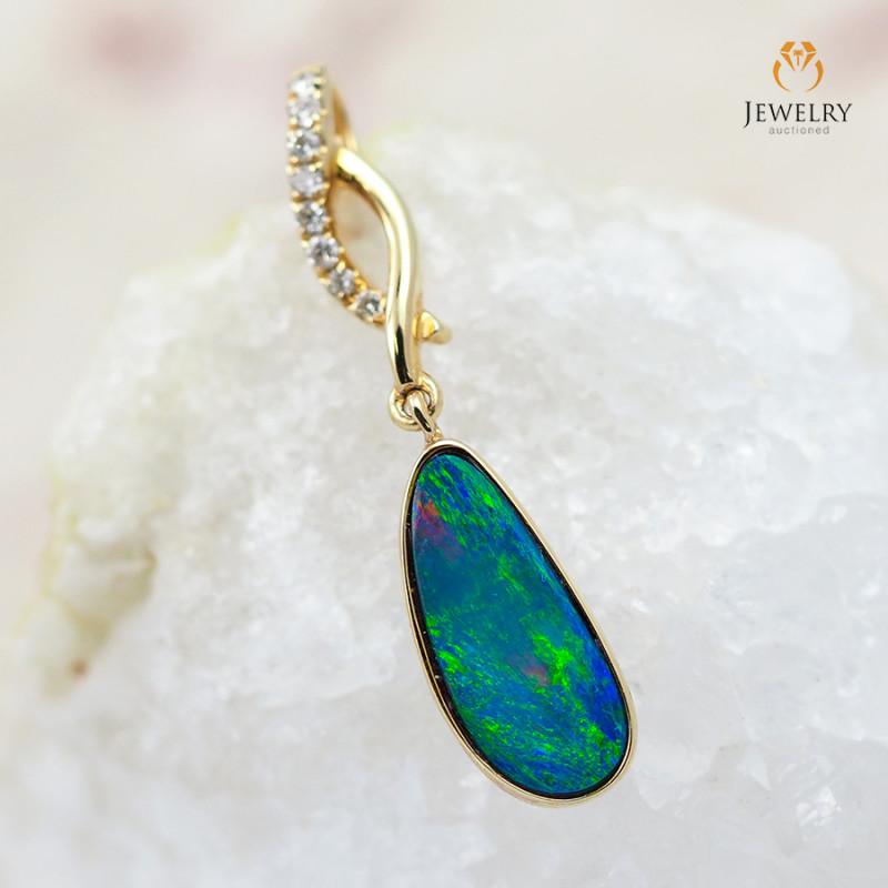 Handmade Designer Doublet Opal 14k Gold Pendant with Diamond OPJ112