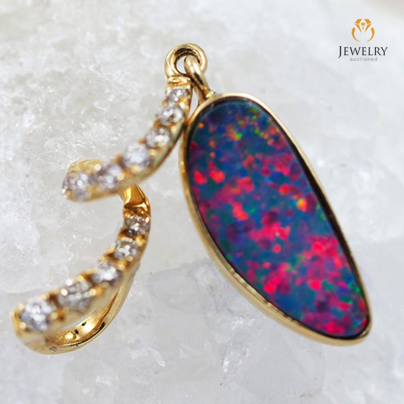 Handmade Designer Doublet Opal 14k Yellow Gold Pendant with Diamond OPJ114
