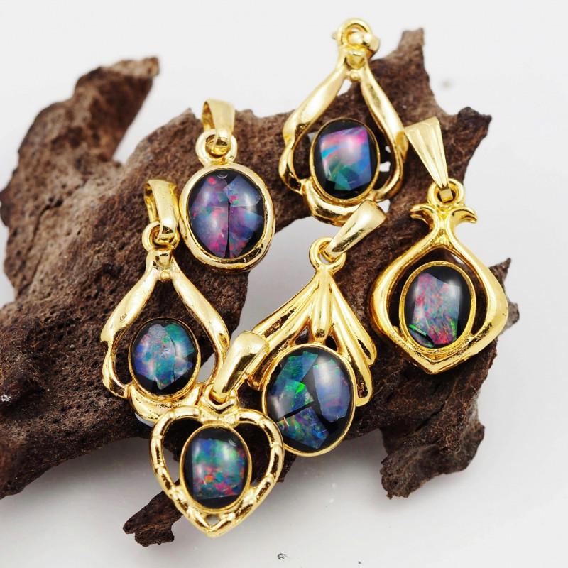 Six  Bright  natural Opal pendants  OPJ 1039