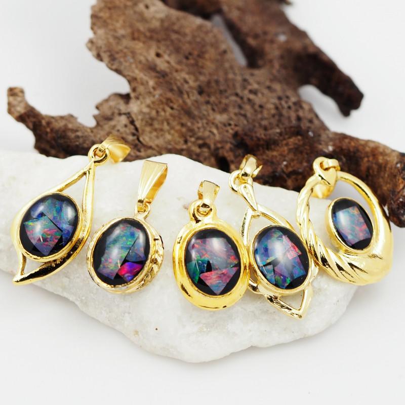 Trade Deal -Five  Bright  natural Opal pendants  OPJ 1041