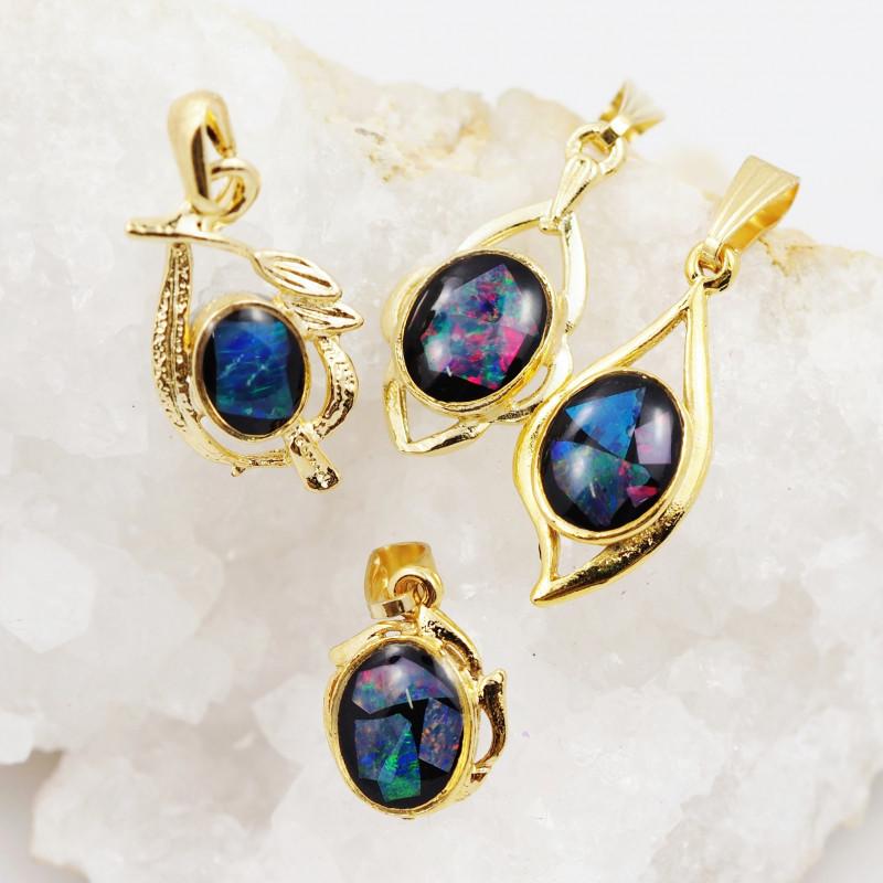 Four  Bright  natural Opal pendants  OPJ 1048