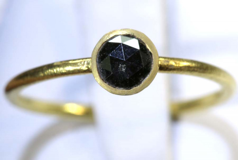 8 CTS BLACK DIAMOND ROSE CUT-RING  SG-418