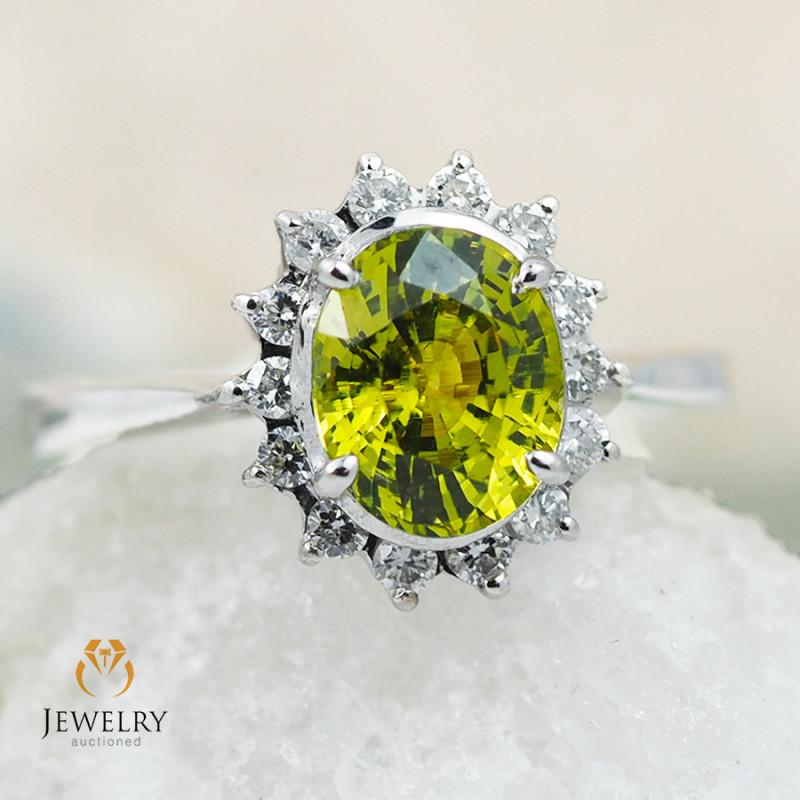 GROSSULAR GARNET CERTIFIED 18K White Gold & Diamonds Ring - RG V24
