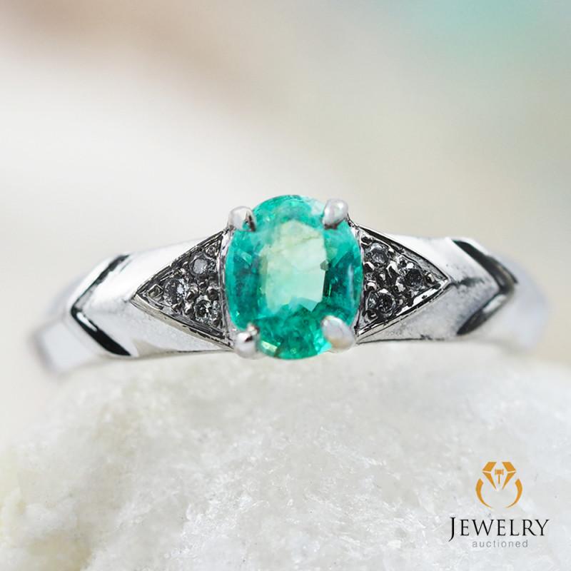 EMERALD AUSTRALIA 18K White Gold & Diamonds Ring - REV10
