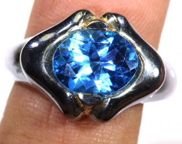 27.15 CTS Swiss blue Topaz silver ring  SG-1335