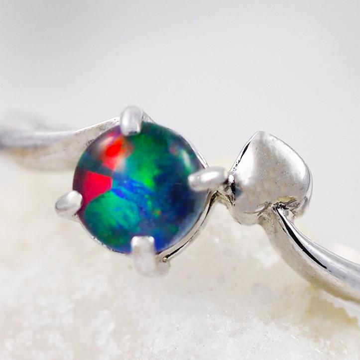Opal Triplet set in S18k white gold ring size 5 - RO1