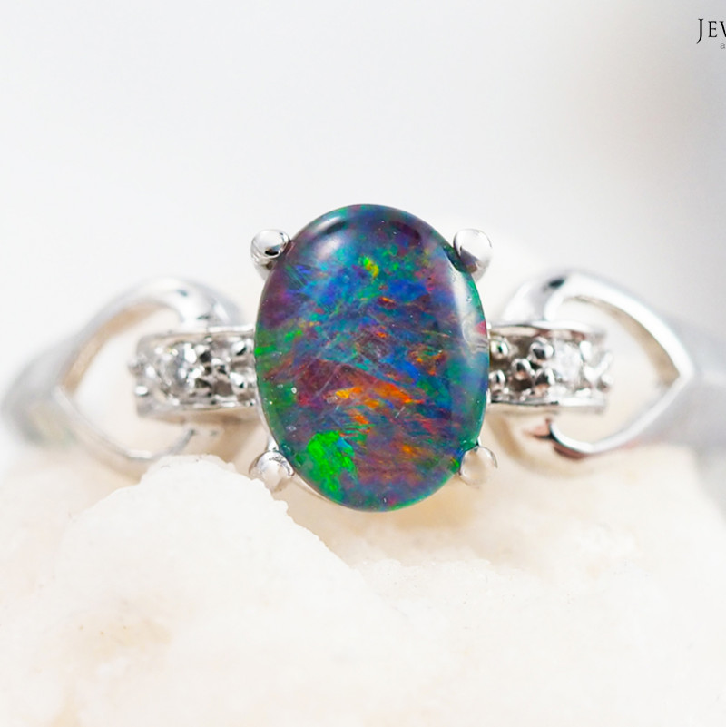 Opal Triplet set in Heart Design 18k white gold ring size 7 - RO3