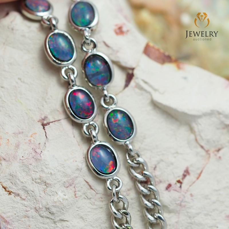 Modern Design 10pc  Oval  Opal Triplet Bracelet OPJ 1065