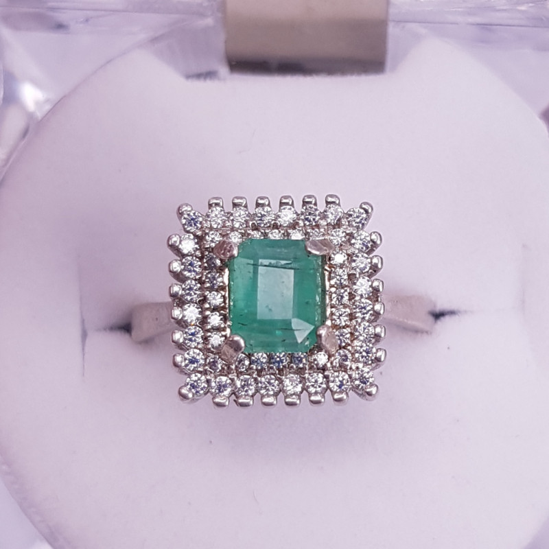 Natural Emerald Ring with small Zircons
