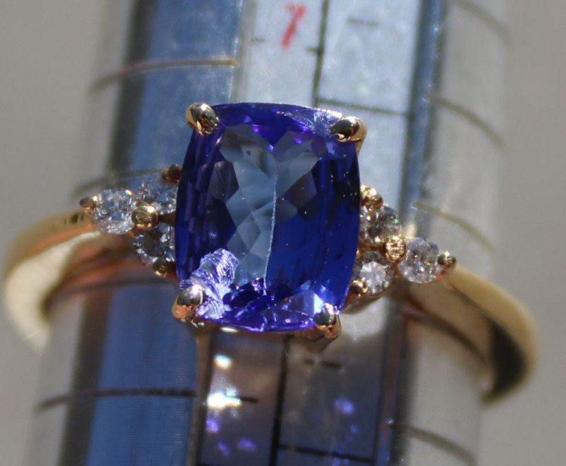 Tanzanite 2.08ct Diamonds 18K Solid Yellow Gold Ring,Natural,Certified,Appr