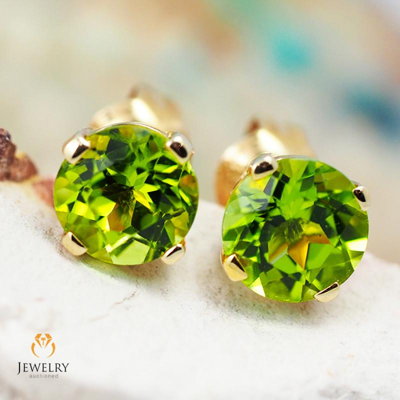 14 K Yellow Gold Peridot Earrings 29 - D E4046 1350