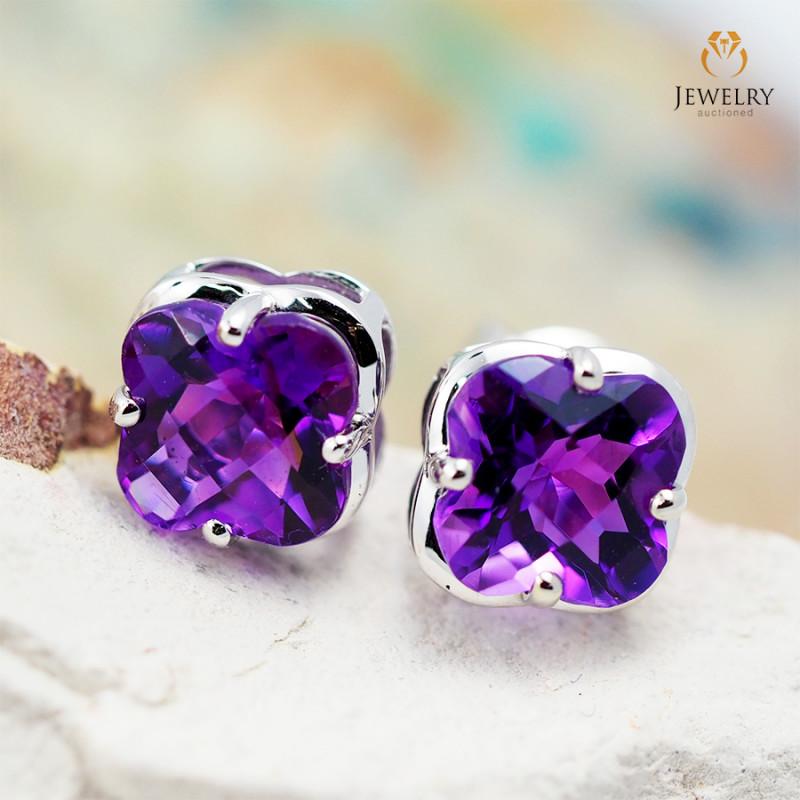 14 K White Gold Amethyst Earrings 47 - D E3991 1500
