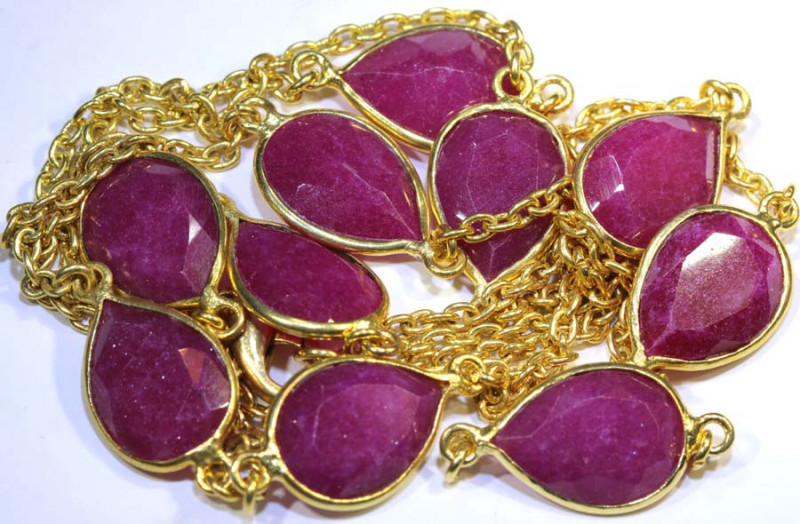 82 CTS RUBY NECKLACE 10 STONES ALMOND SHAPE  SG-2049