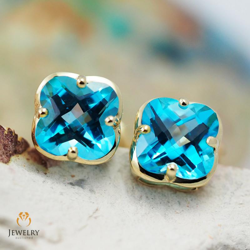 14 K Yellow Gold Blue Topaz Earrings 49 - D E3991 1550