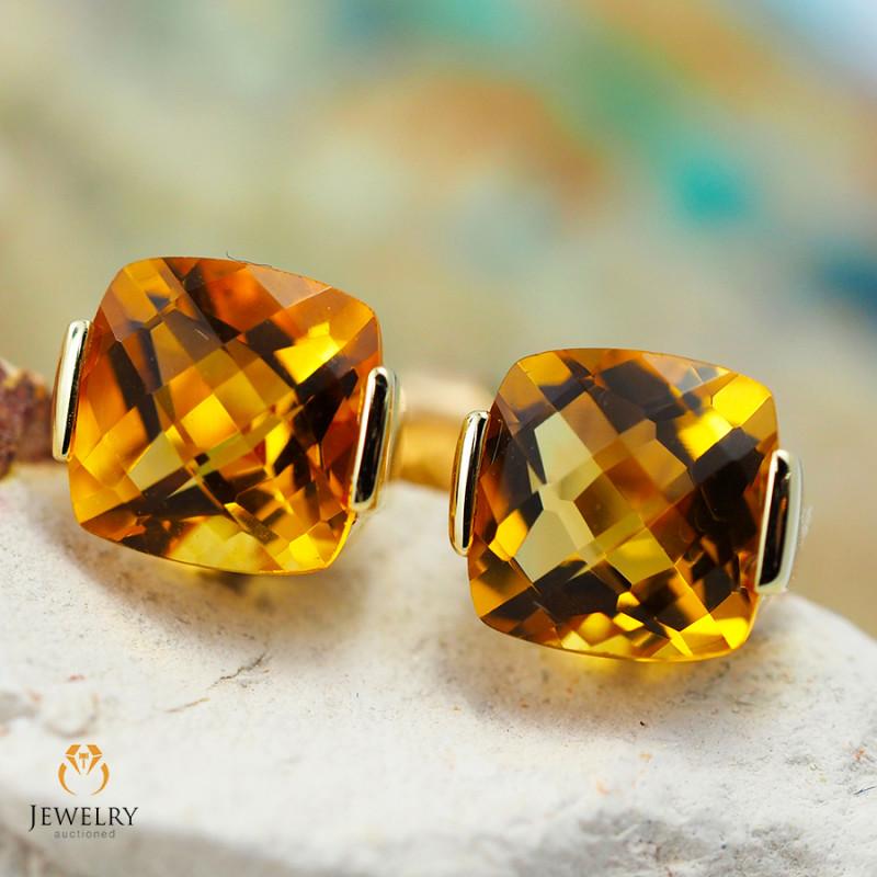 14 K Yellow Gold Citrine Earrings 51 - D E2420 1800