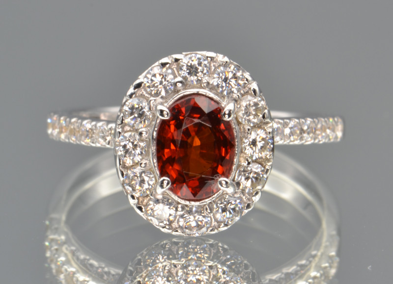 Natural Spessartite Garnet and Silver Ring