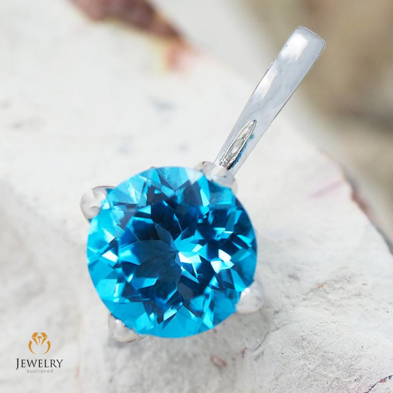 14K White Gold Blue Topaz & Diamond Pendant - 65 - D P8967 2500