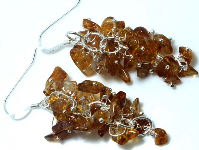40 CTS CITRINE EARRINGS GRAPE DESIGN SG-2054