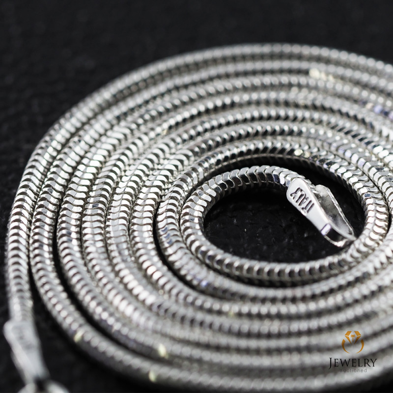 20 Inch, 50 cm 1.3 x 1.2 mm Long  Snake  Silver chain . AM 921