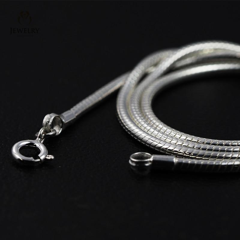 20 Inch, 50 cm 2.3 x 2.3  mm Long  Snake  Silver chain . AM 938