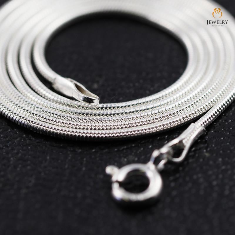20 Inch, 50 cm 1.0 x 0.8   mm Long  Snake  Silver chain . AM 962