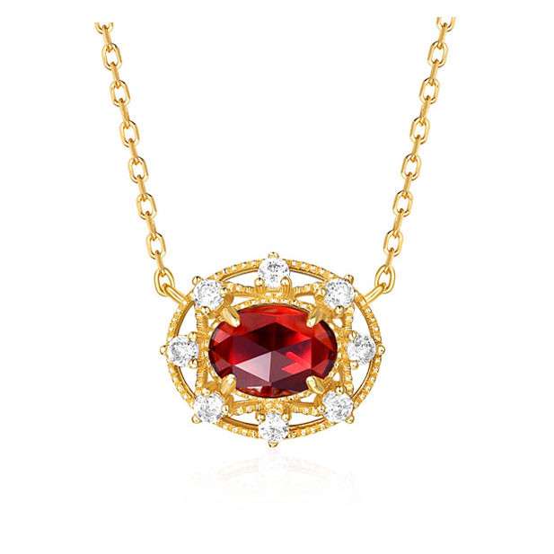 Gorgeous Garnet Necklace - Gold Plated