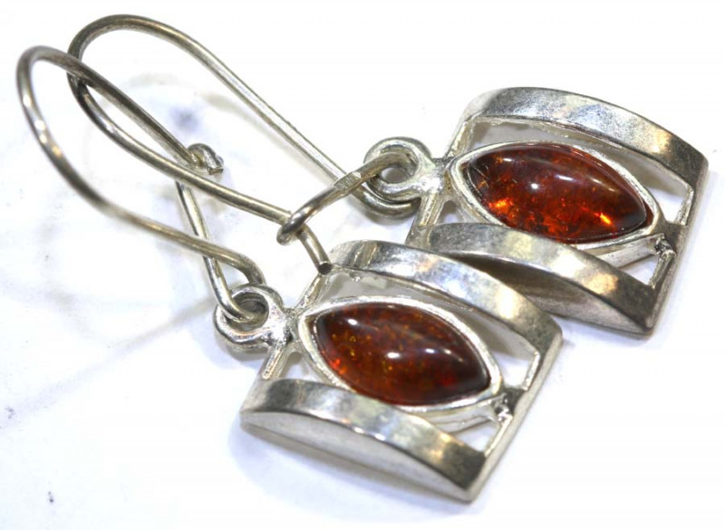 15.04 CTS AMBER SILVER EARRING SG-2252
