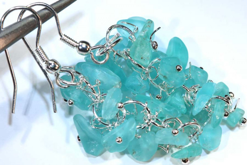49.95CTS APATITE EARRINGS NEON BLUE UNTREATED SG-2290