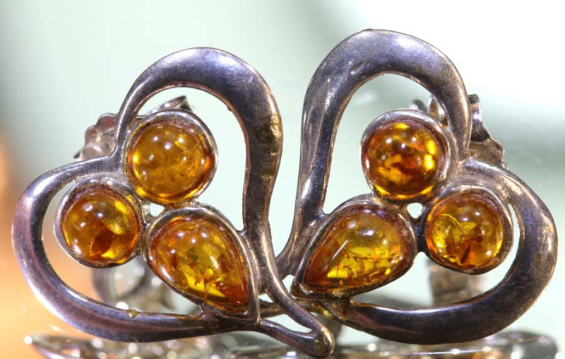 15.6CTS AMBER SILVER EARRINGS  SG-2106